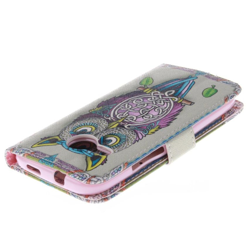 Filp Leather Built in Card Slot With OWL Double Painting Cover Case for HTC One M8 Mini (White) (Intl)