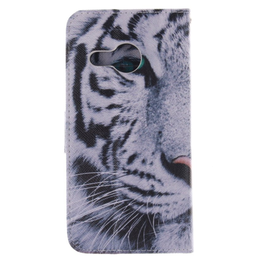 Filp Leather Built in Card Slot With Tiger Double Painting Cover for HTC One M8 Mini (Multicolor) (Intl)