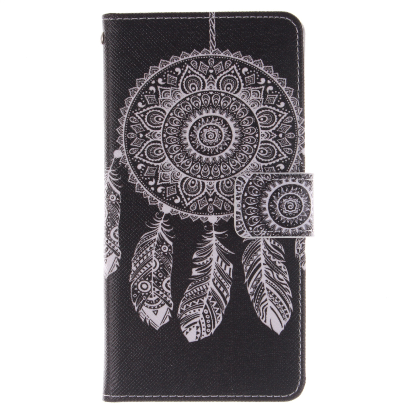 Filp Leather Case Built in Card Slot for Sony Xperia M4 (Dreamcatcher Double Painting Black) (Intl)