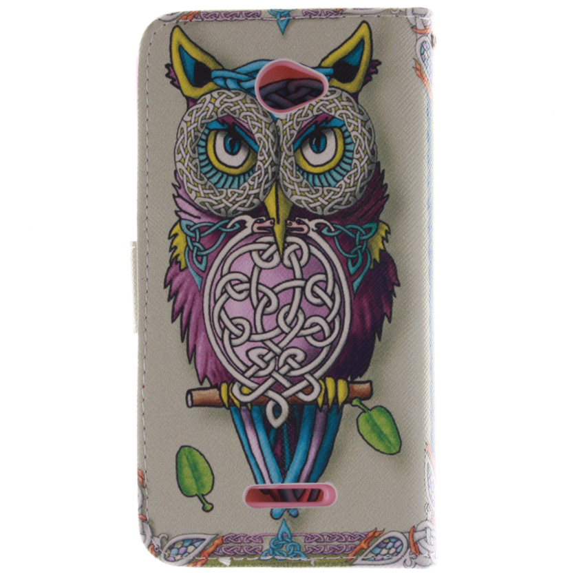 Filp Leather Case Built in Card Slot for Sony Xperia M4 (OWL Double Painting White) (Intl)