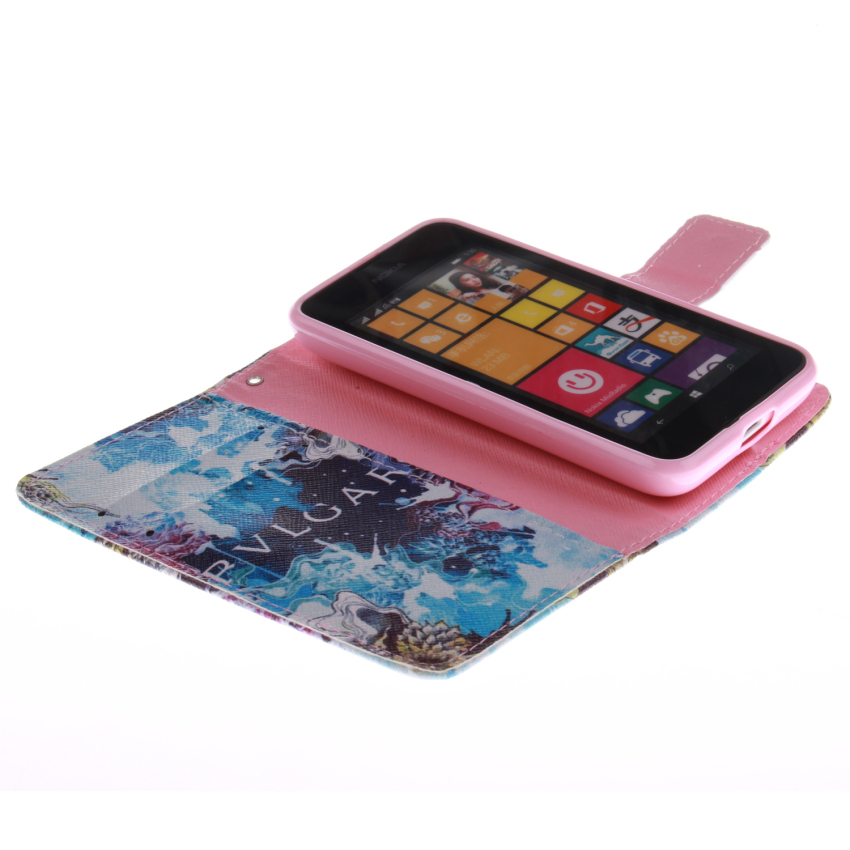 Filp Leather Case Built in Card Slot With Blue Color Doule Painting For Nokia Lumia 530-White (Intl)