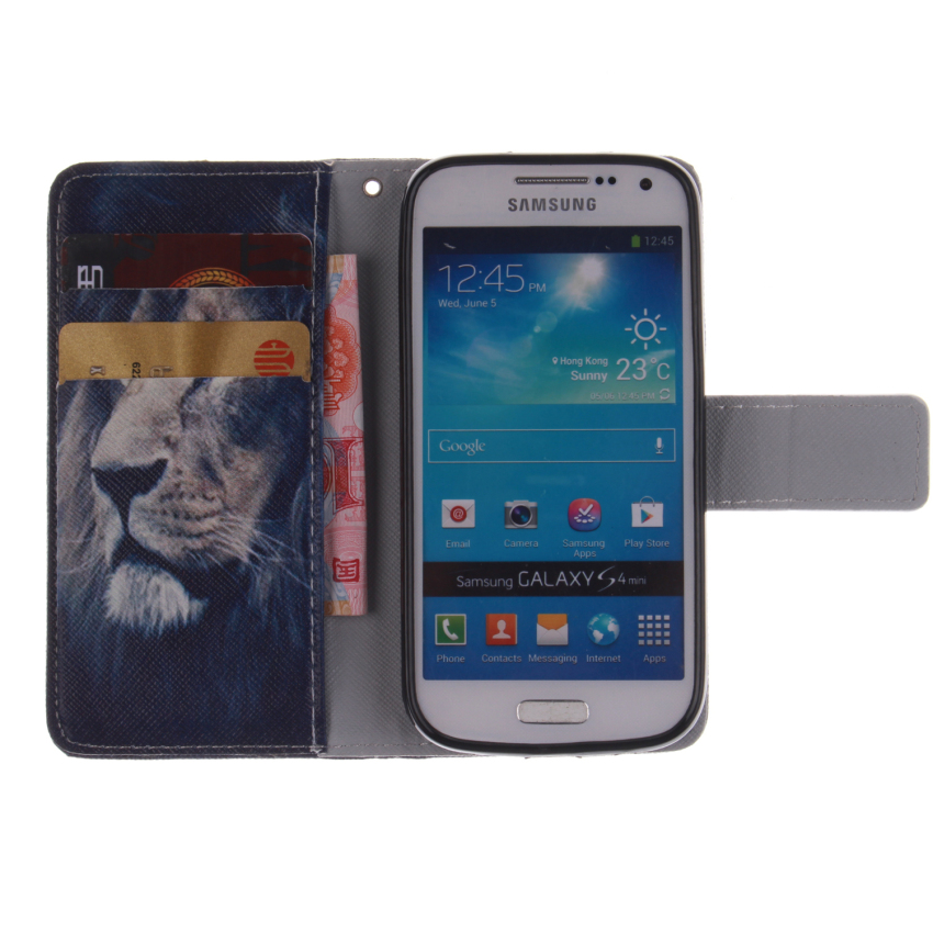 Filp Leather Case Built in Card Slot with Character Double Painting for Samsung Galaxy S4 Mini i9190 (White) (Intl)
