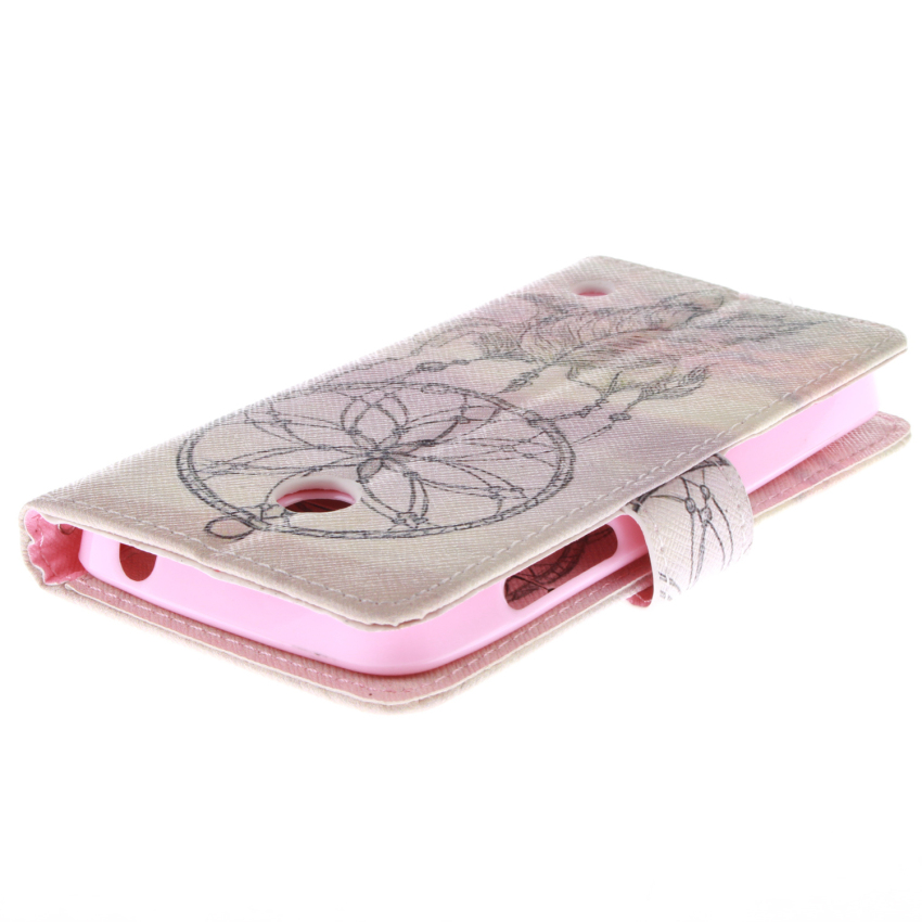 Filp Leather Case Built in Card Slot with Dreamcatcher Double Painting for Nokia Lumia 630 (Pink) (Intl)