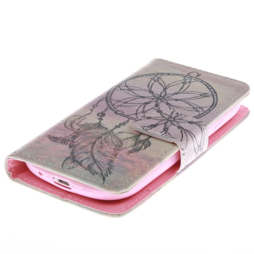 Filp Leather Case Built in Card Slot with Dreamcatcher Double Painting for Samsung Galaxy S3 mini i8190 (Pink) (Intl)