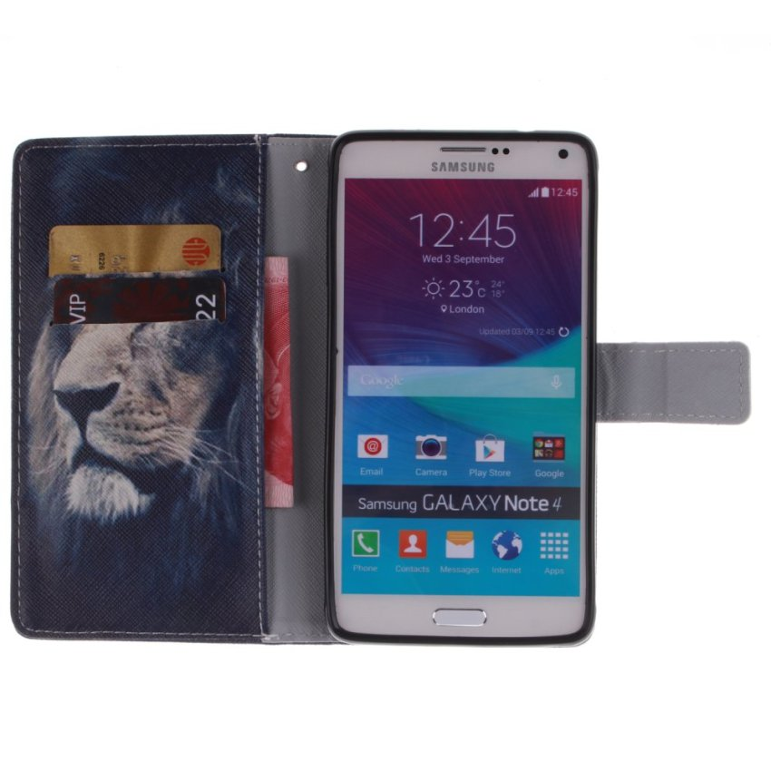 Filp Leather Case Built in Card Slot With Lion Double Painting For Samsung Galaxy Note 4-Black (Intl)