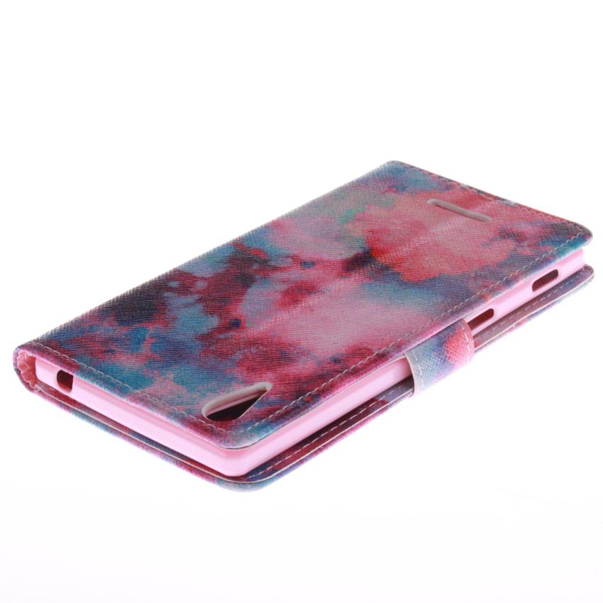 Filp Leather Case Built in Card Slot with Red Sky Double Painting for Sony Xperia T3 (Red) (Intl)