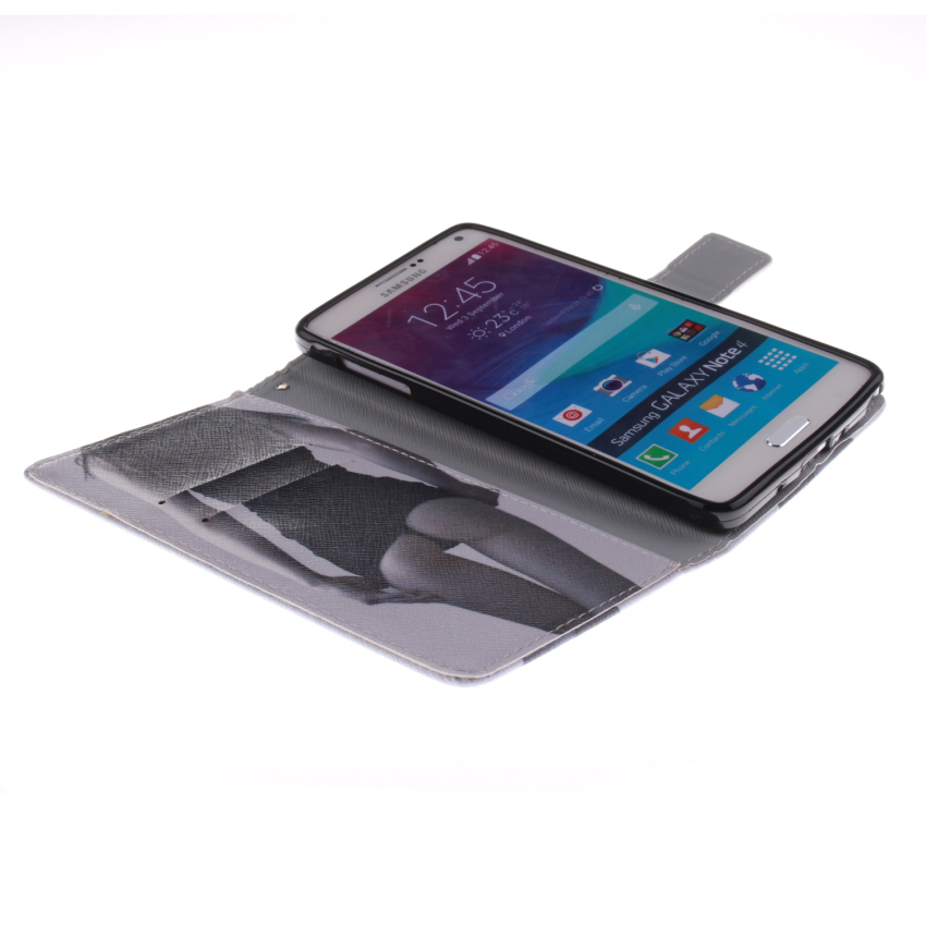 Filp Leather Case Built in Card Slot With Sexy Gilrl Double Painting For Samsung Galaxy Note 4-Black (Intl)