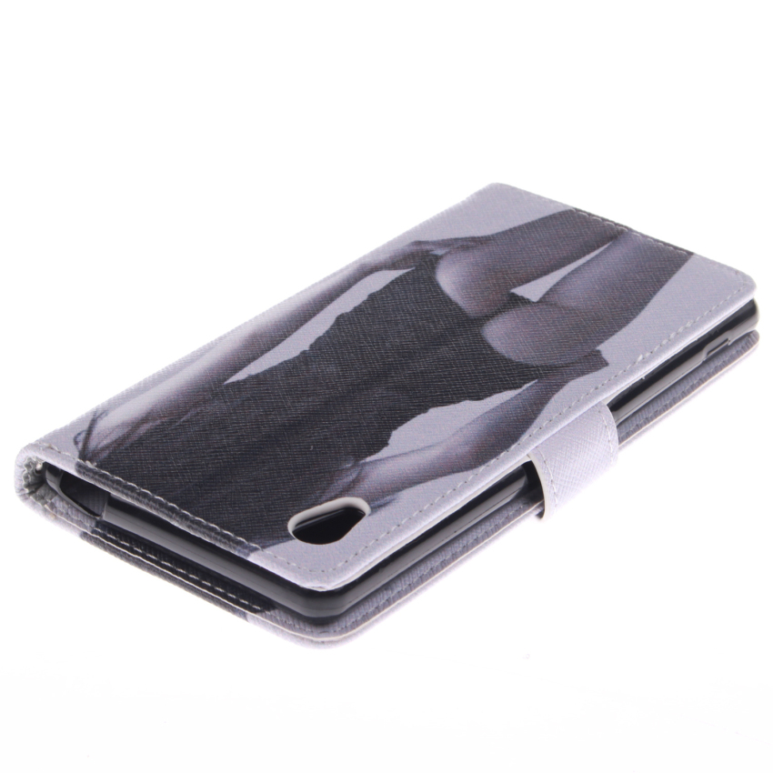 Filp Leather Case Built in Card Slot with Sexy Gilrl Double Painting for Sony Xperia M4 (Black) (Intl)