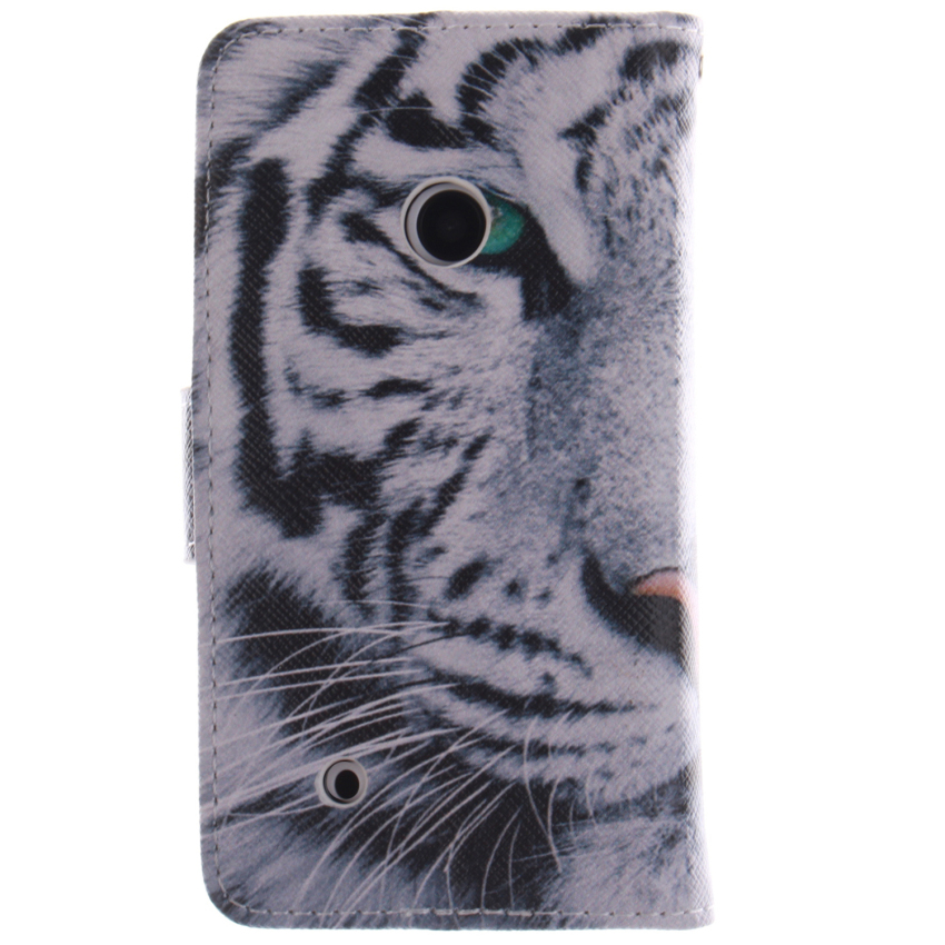 Filp Leather Case Built in Card Slot With Tiger Double Painting For Nokia Lumia 530-White (Intl)