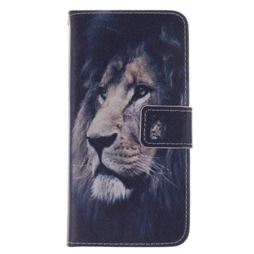 Filp Leather Cover Built in Card Slot with Lion Double Painting Cover for HTC One M8 Mini (Black) (Intl)