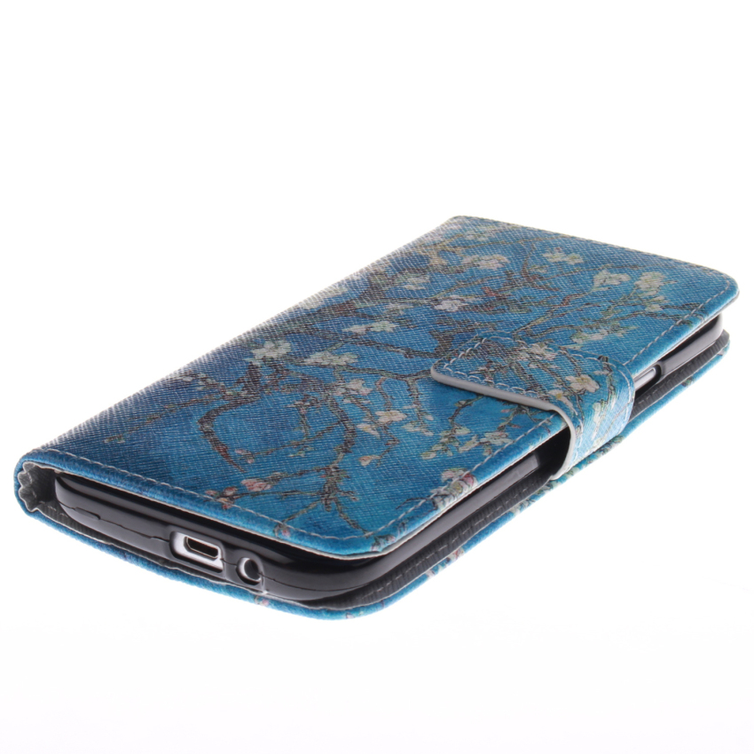 Filp Leather Cover Built in Card Slot with Trees Double Painting for HTC One M8 (Blue) (Intl)
