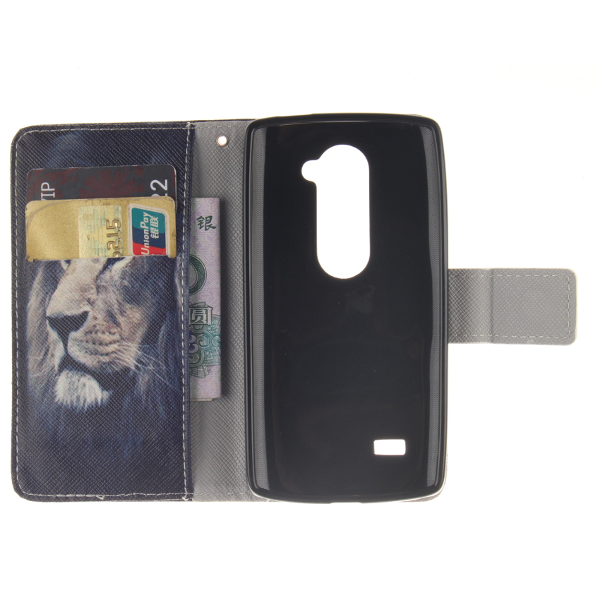 Filp Leather Cover Case Built in Card Slot with Lion Double Painting for LG Leon (Black) (Intl)