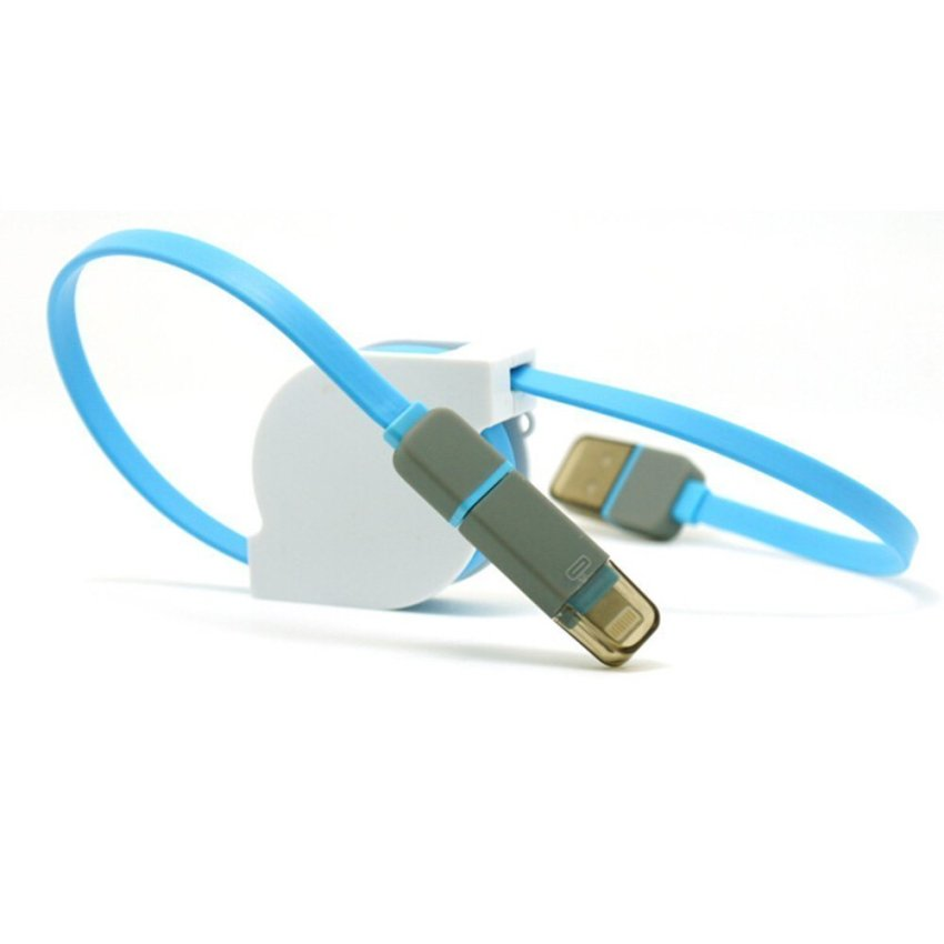 Flat Noodle Cord for IPhone 5/6/6+/Note 4/3/2/S5/S4 (Blue/White) (Intl)