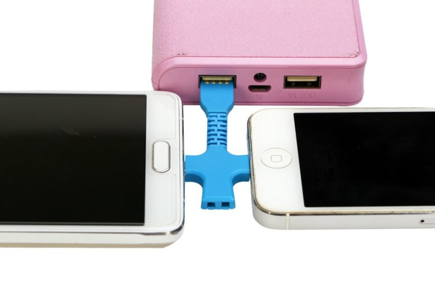 Flexible Cross 2in1 Micro USB + Lightning Sync Data Charger Adaptor Cable For iPhone Samsung Htc Blackberry Blue (Intl)