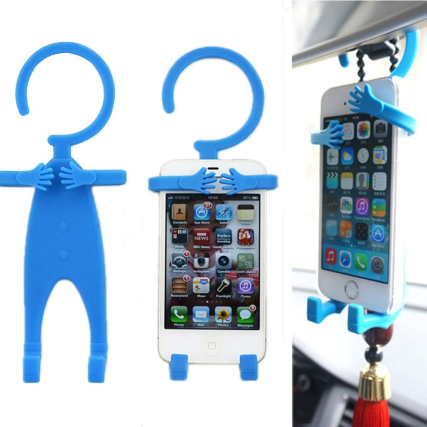Flexible Human Shape Silicon Grip Car Stand Holder for iPhone Galaxy Mobile (Intl)