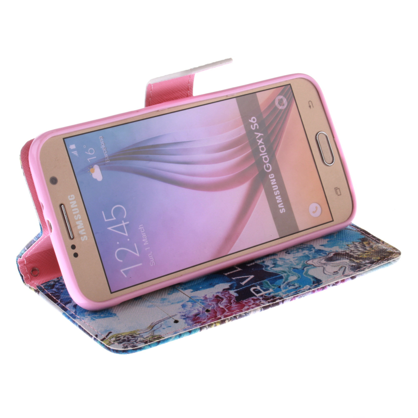 Flip Leather Case Built in Card Slot for Samsung Galaxy S6 (Multicolor) (Intl)