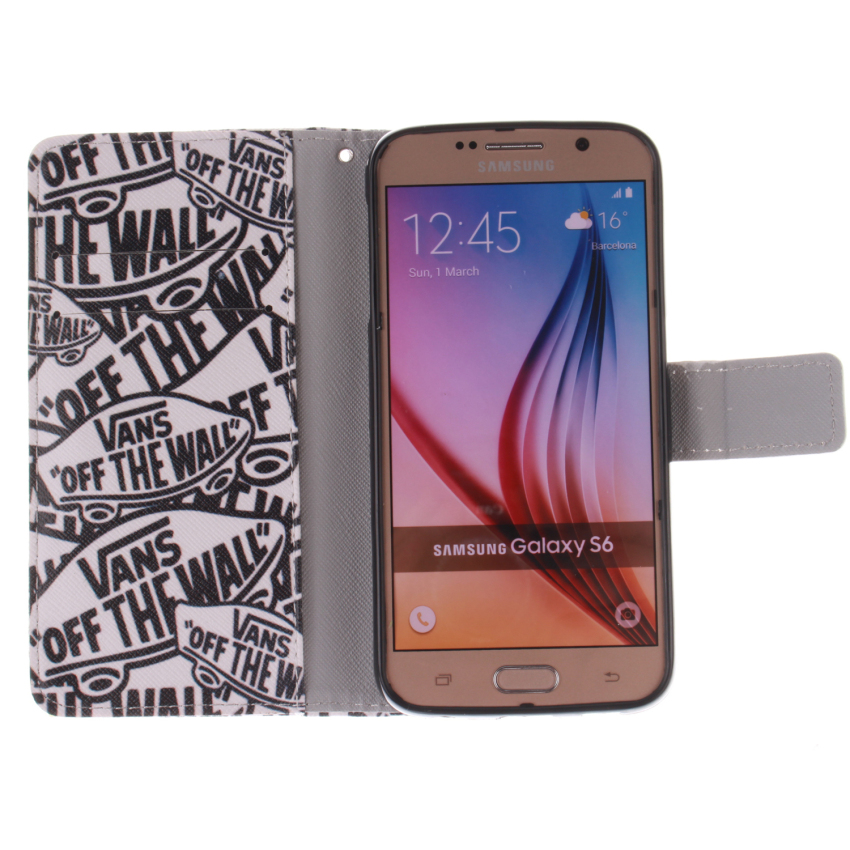 Flip Leather Case Built in Card Slot for Samsung Galaxy S6 (White) (Intl)