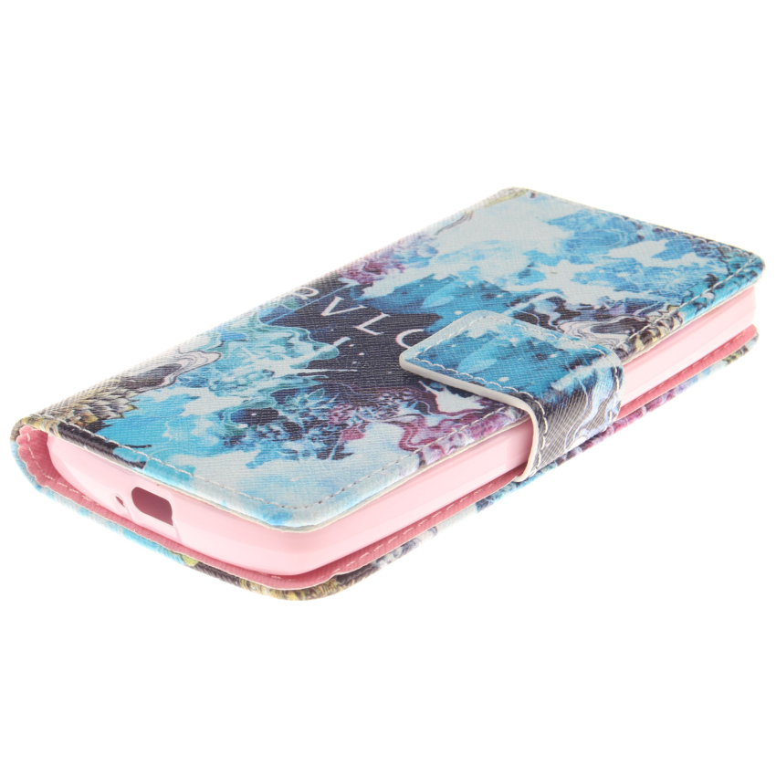 Flip Leather Case Built in Card Slot with Blue Color Double Painting for LG Leon (Multicolor) (Intl)