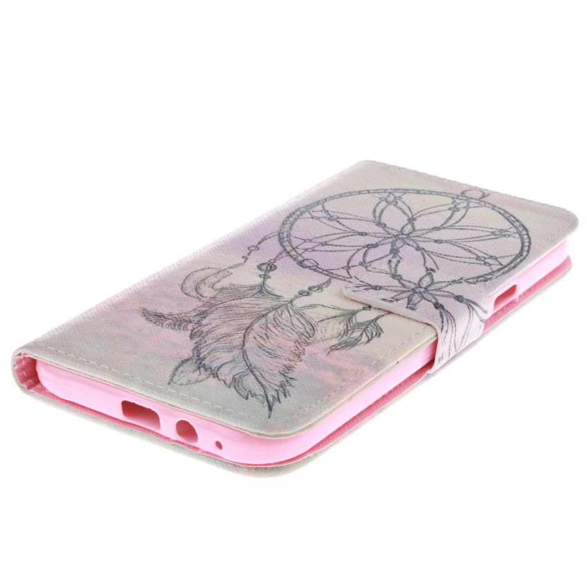 Flip Leather Case Built in Card Slot With Dreamcatcher Double Painting for Samsung Galaxy E7 (Pink) (Intl)