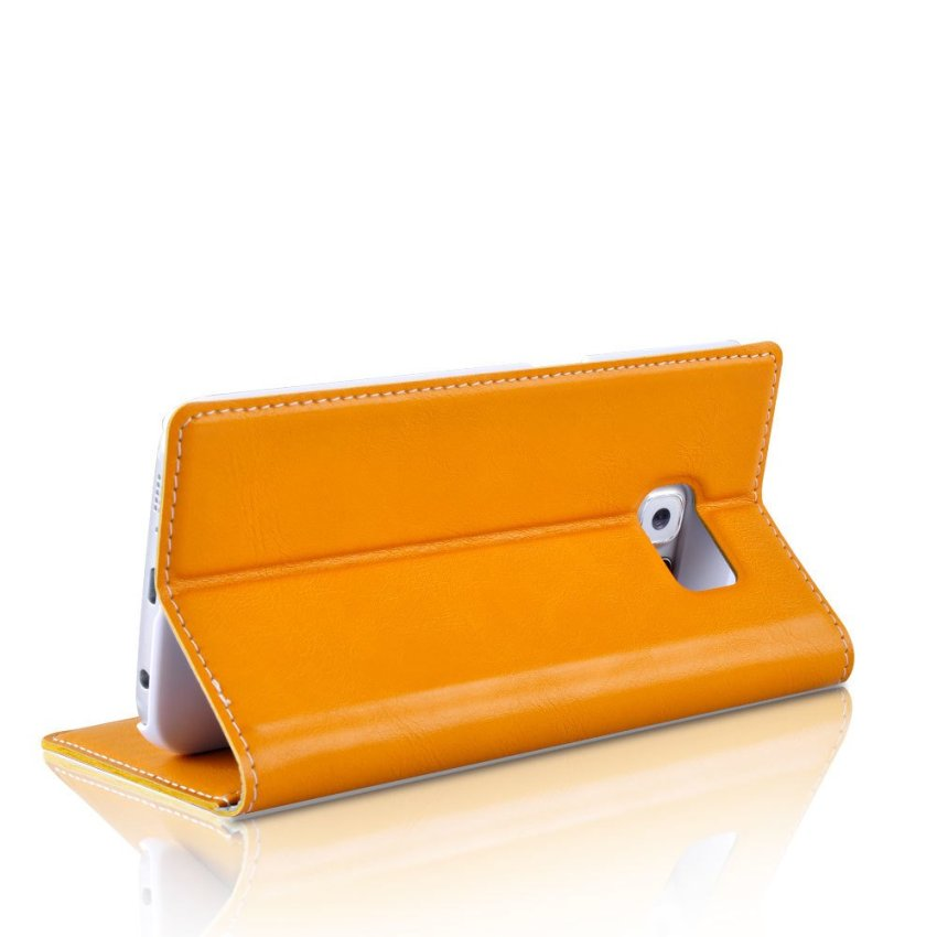 Flip Leather Wallet Stand Cover for Samsung Galaxy S6 Edge (Yellow)(INTL)
