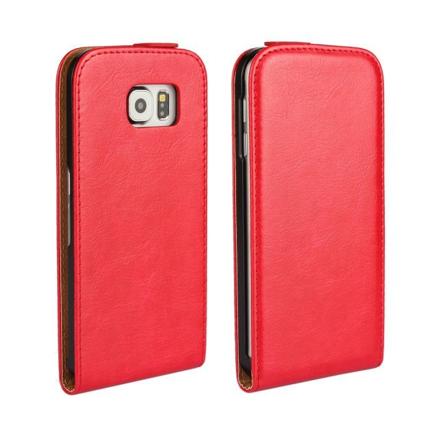 Flip Protective Crazy Horse Stripe Fluctuation Open Holster Cover for Samsung Galaxy S6 (Red)