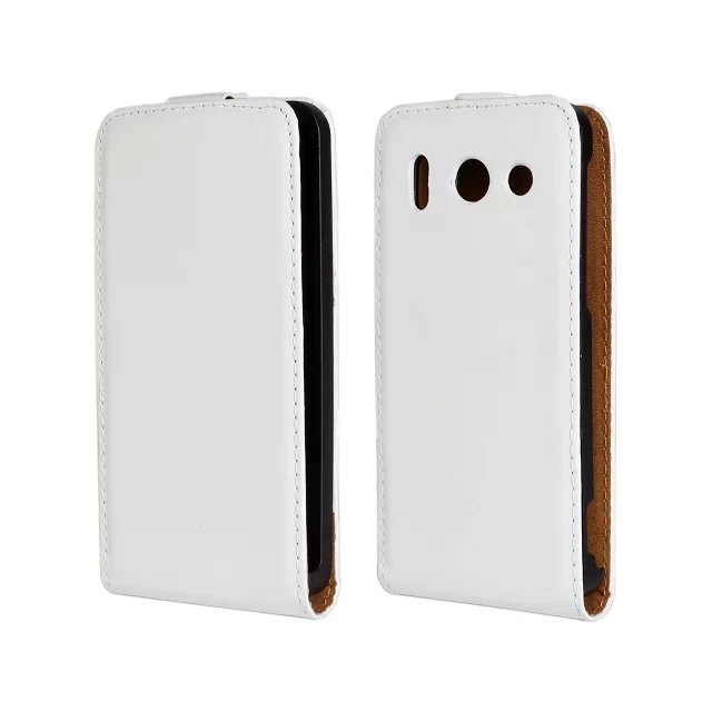Fluctuation Open Leather Holster Cover for Huawei G510 (White)