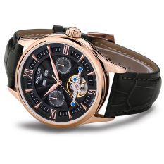 Foonovom Genuine HOLUNS Male Watch Automatic Mechanical Watch Fashion Men's Hollow Mechanical Watches Tourbillon (Black)