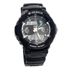 Foorvof Mens Dual-time Display Quartz Outdoor Wrist Watches (Black)
