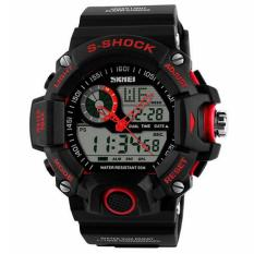 Foorvof S-Shock Mens LED Digital Date Alarm Rubber Sport Wristwatch (Red)
