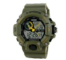 Foorvof S-Shock Mens LED Digital Rubber Sport Wristwatch (Army Green)