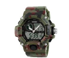 Foorvof S-Shock Mens LED Digital Rubber Sport Wristwatch (Camo Green)
