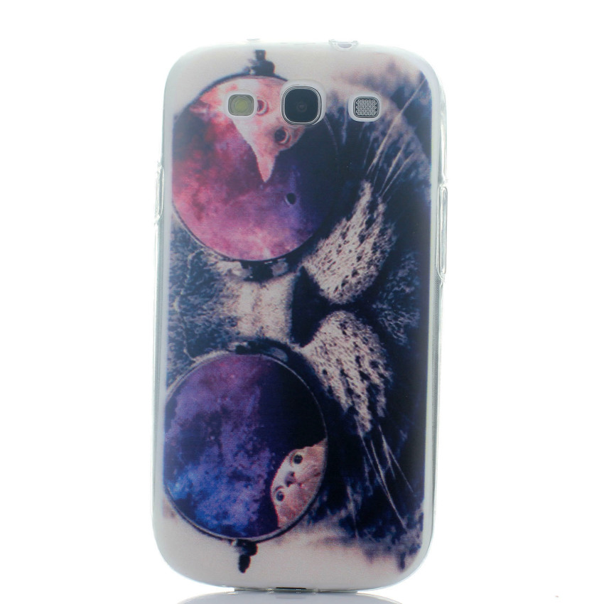 For Samsung Galaxy S3 i9300 Ultra-thin Soft TPU Phone Back Case Cover Protective Shell (Cat with Glasses) (Intl)
