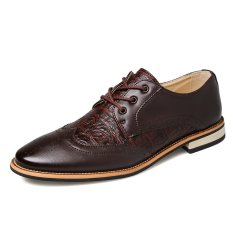 Formal Crocodile Leather Men Casual Business Shoes (Wine Red) - Intl