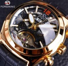 Forsining Convex Glass Stylish Tourbillion 3D Designer Genuine Leather Strap Automatic Watch Clock - Intl