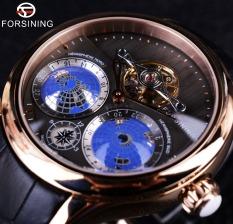 Forsining Earth Real Tourbillion Multi-dimensional Designer Mens Fashion Casual Automatic Watch - Intl