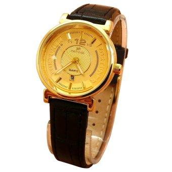 Fortuner Analog Jam Tangan Wanita - Leather Strap - Hitam Body Gold - FR 2831 (One Size)