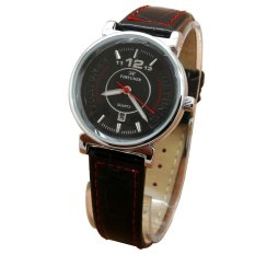 Fortuner Analog Jam Tangan Wanita - Leather Strap - Hitam List Merah - FR 2831