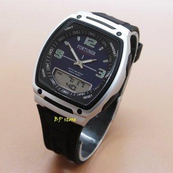 Fortuner Sport Dual Time - FR J-451 Black Blue Silver - Jam Tangan Wanita - Karet
