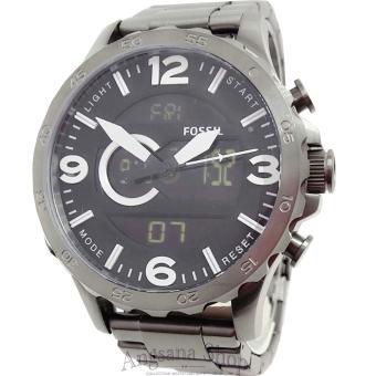 Fossil Jr1491 - Jam Tangan Fashion Pria Mewah - Dual Time - Elegant Fiture Analog Classic - Stainless (Black)