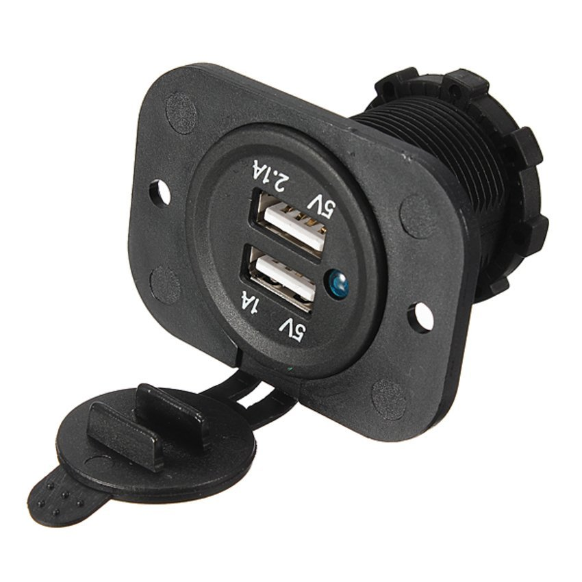 FSH Dual USB Car Socket 12V Power Adapter Outlet Charger (Intl)
