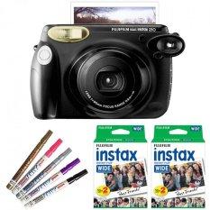 Fujifilm Instax WIDE 210 Instant Camera + WIDE White 40 Film (Black) + Pen (Intl)