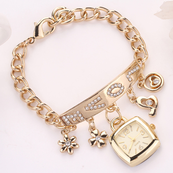 Functional Selling Stainless Steel Casual Gold Wristwatch Women Watches