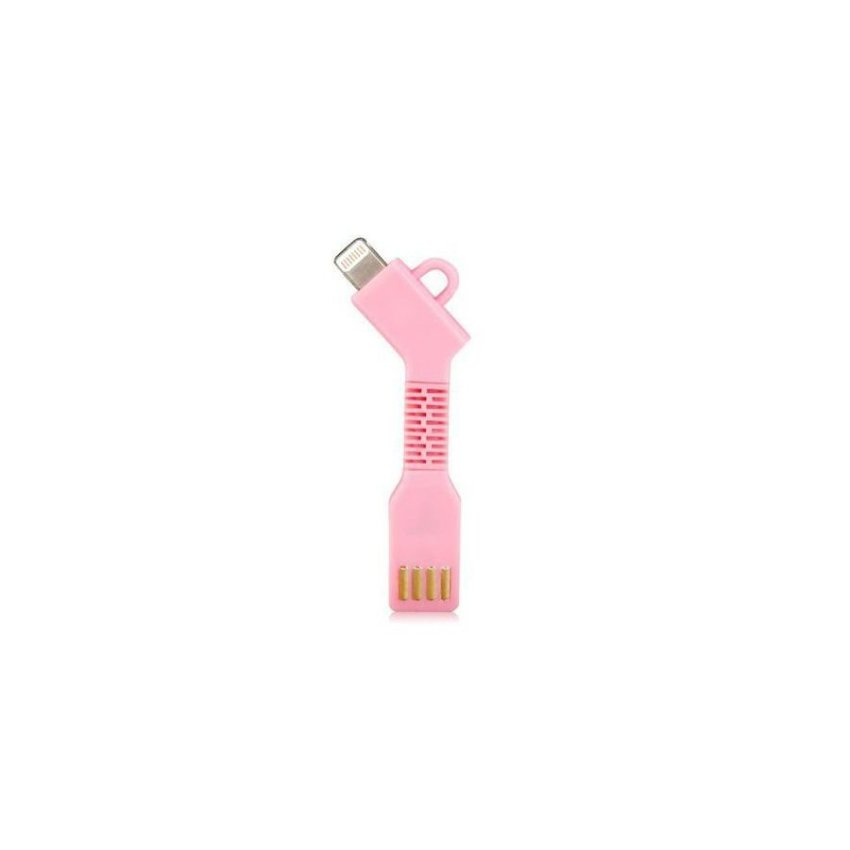 Generic 1.5CM 8 Pin Port Charging Data Cable with Key Chain for iPhone 5S/5C/5 Pink