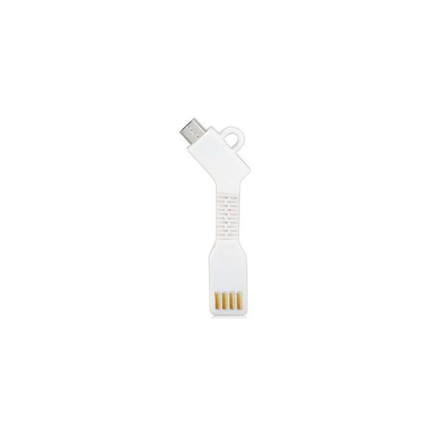 Generic 1.5CM Micro USB Charging Data Cable with Key Chain(White)