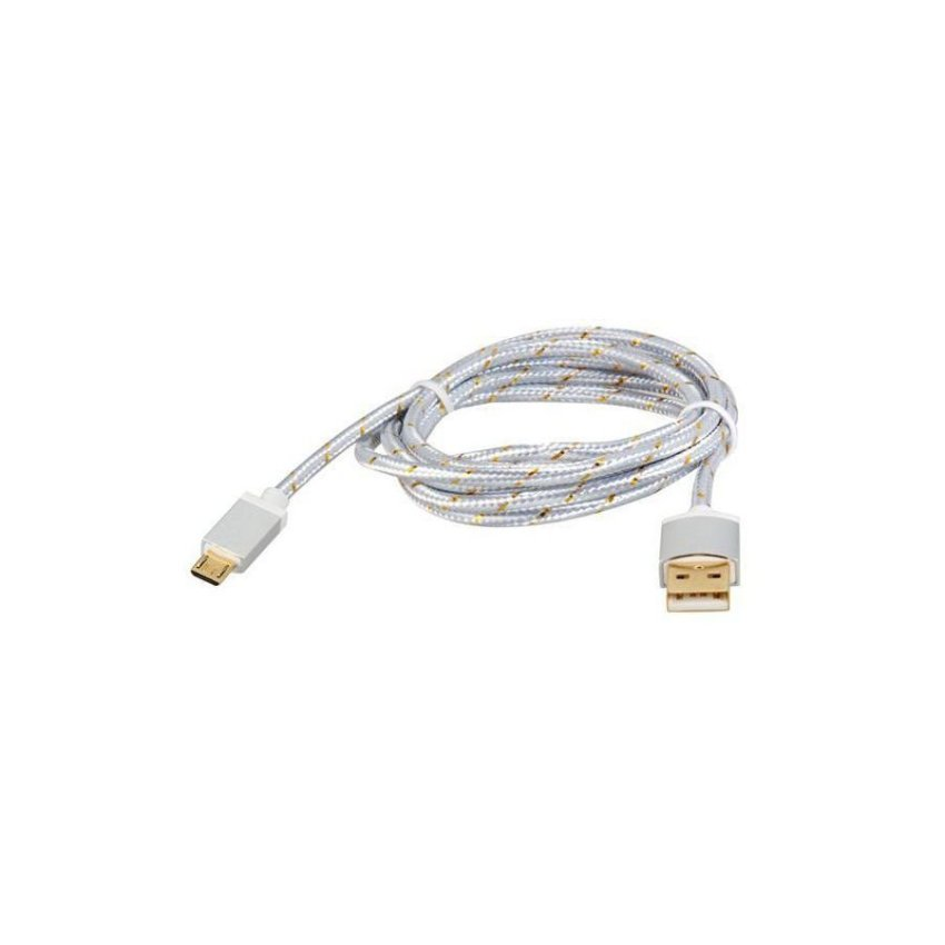 Generic 1.5M Micro USB to USB 2.0 Knit Charging Data Cable (Silver)