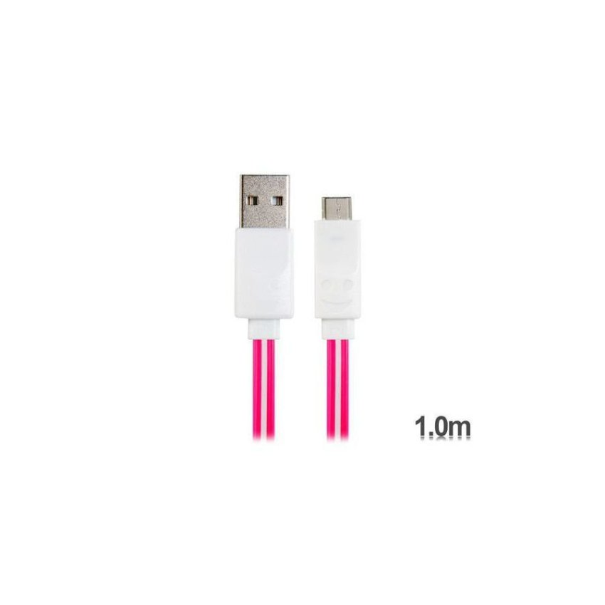 Generic 1 m LED Flashing Micro USB Charging Data Flat Cable for Samsung HTC Sony Cell Phones Tablet PCs (Light Purple)