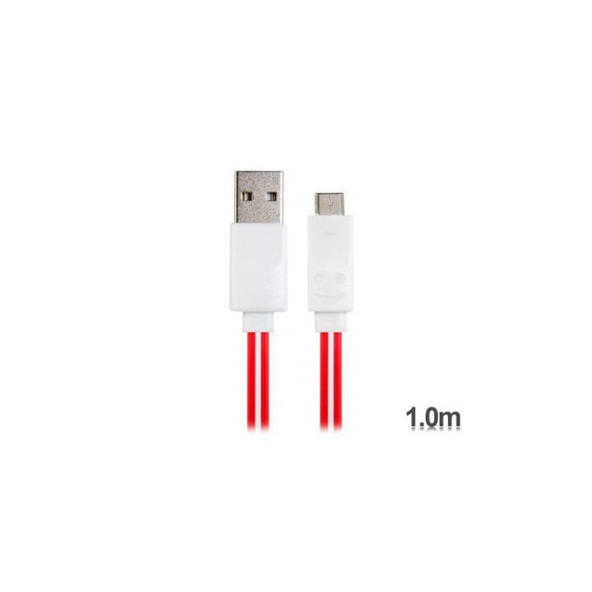 Generic 1 m LED Flashing Micro USB Charging Data Flat Cable for Samsung HTC Sony Cell Phones Tablet PCs (Red)
