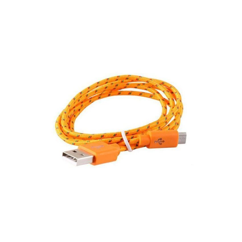 Generic 1 m Micro USB Woven Charging Data Cable for Samsung HTC (Orange)