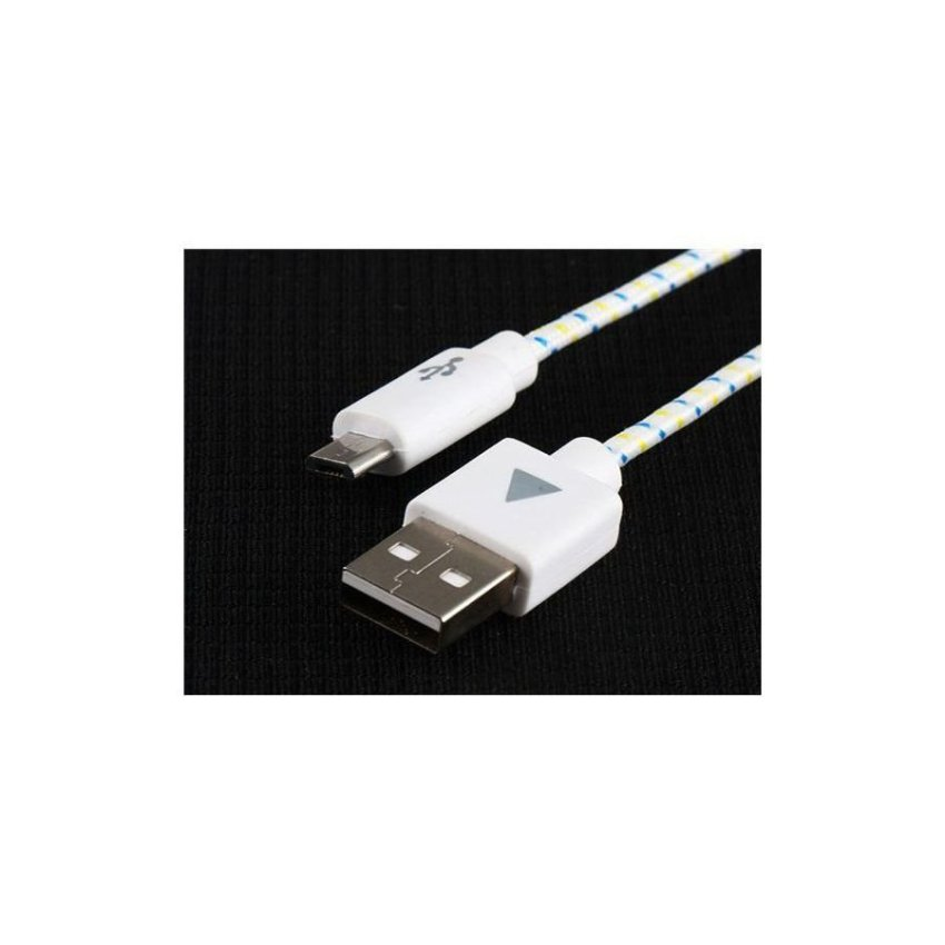 Generic 1 m Micro USB Woven Charging Data Cable for Samsung HTC (White)