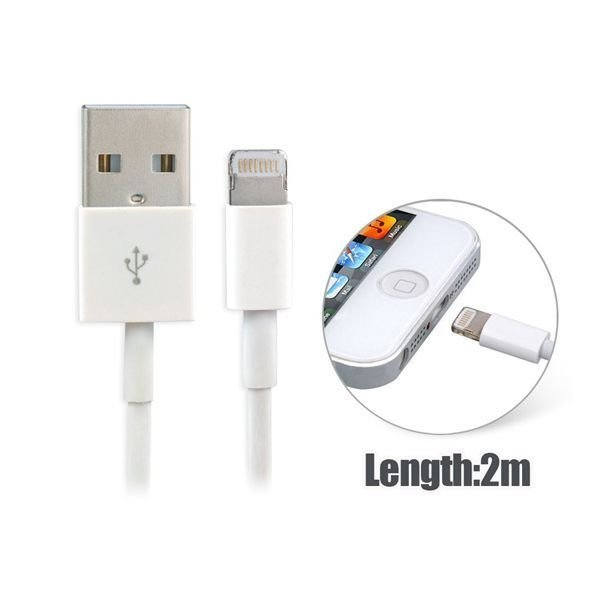 Generic 2.0 m Charging Cable for iPhone 5 iPad Mini iPad 4 iPod Touch 5 iPod Nano 7 Best Seller (White)